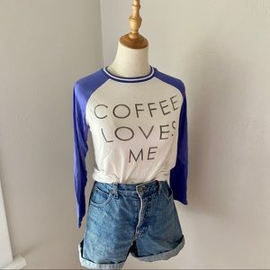Coffee Loves Me Graphic Baseball Tee